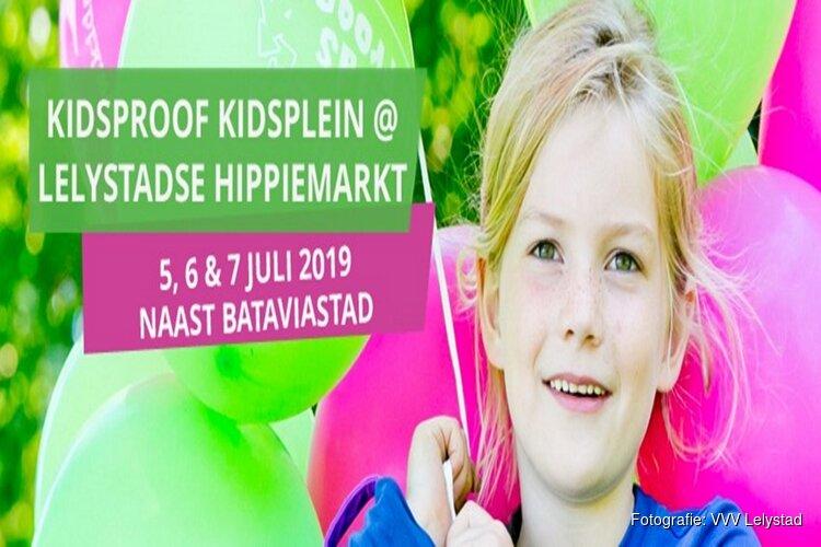 Spetterend Kidsproof Kidsplein tijdens Lelystadse Hippiemarkt